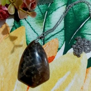 Jewelry - Dark Brown Dragon Vein Agate Stainless Steel Chain